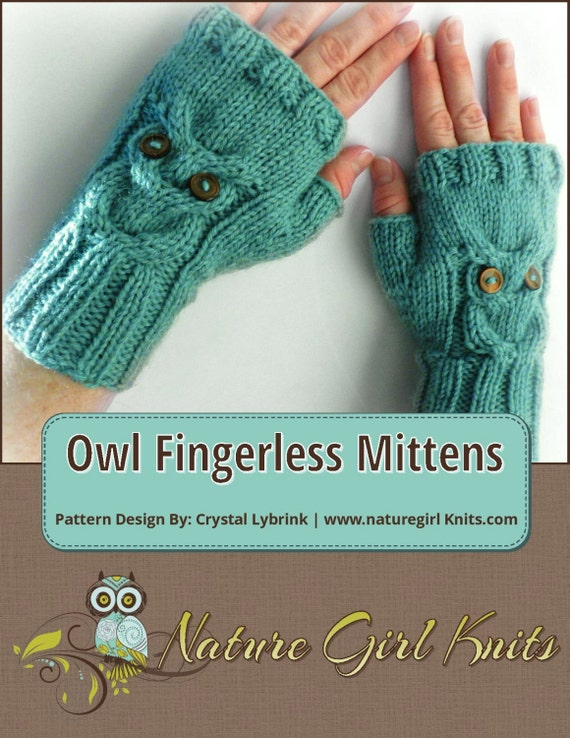 KNITTING PATTERN Owl Cable Knit Fingerless Mittens PDF