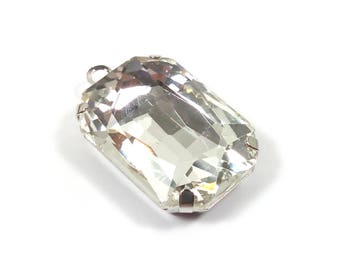 1 Crystal Silver/clear 25 mm rectangle glass pendant