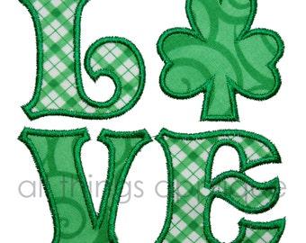 St. Patrick's Applique Design - LOVE Shamrock Applique Design - St. Patrick's Day Applique Design - INSTANT DOWNLOAD