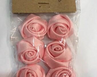Set of 6 small diameter satin fabric flowers. 2.5 cm - pink