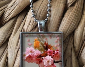 Singing Bird on Pink Flowers Pendant Necklace