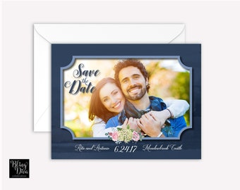 Blue Hydrangea Save the Date Custom Print