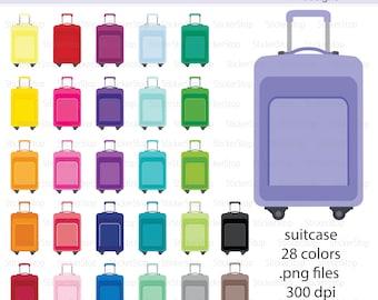 Suticase Clipart 28 colors, PNG Digital Clipart - Instant download