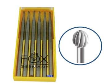 Fox Round Bur Set 025 mm 6 Pcs Vanadium Steel Jewelry Shaping Tool Made In Germany WA 360-001-025