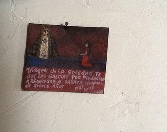 Virgen de Soledad painted tin retablos Mexican folk art