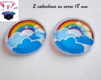 2 glass cabochons domed 18mm Rainbow theme