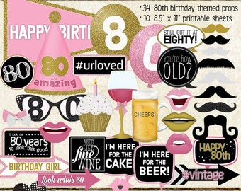 Photo Booth Props, HAPPY 80TH BIRTHDAY, girl, pink, gold, printable sheets, instant download, selfie station