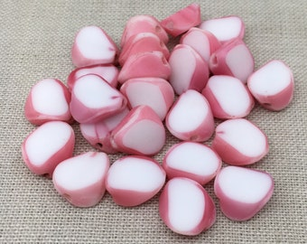 10 Vintage Slice White Pink German Glass Beads 10mm