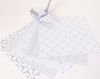 Origami Paper Sheets - Geometric Lines Pattern - 100 Sheets