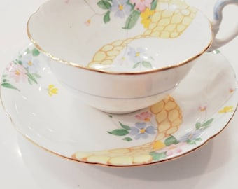 Vintage GRAFTON Pale Yellow and White Tea Cup and Saucer/ Made in England/ Vintage Tea / Cabinet Cup