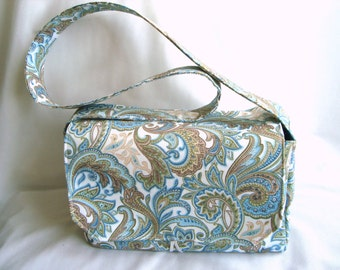 """4"""" Large Size Coupon Organizer Box Budget  Holder - Attaches to Your Shopping Cart / PRETTY GREEN PAISLEY"""