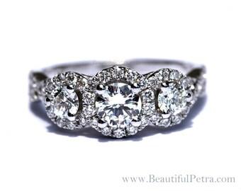 CUSTOM made - 1.00 carat Round - Pave - 3 stone - Diamond Engagement Ring 14K white gold - Weddings - Luxury - Brides - bph017