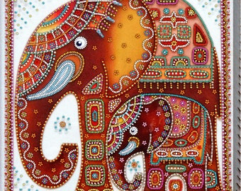"DIY Bead embroidery kit ""Elephants"",  beaded stitching, room wall decor, housewarming gift idea craft set, FREE Shipping"