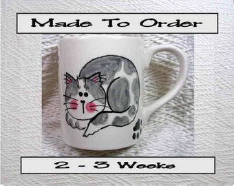 Grey and White Cat Ceramic Mug Handpainted Original Design With Paw Prints GMS