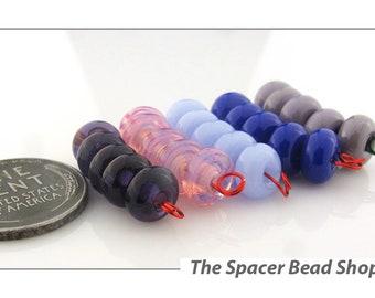 BEAD DREAMS Pink Purple HALF Bead Sets Lampwork Spacers Glass Handmade - The Spacer Bead Shop