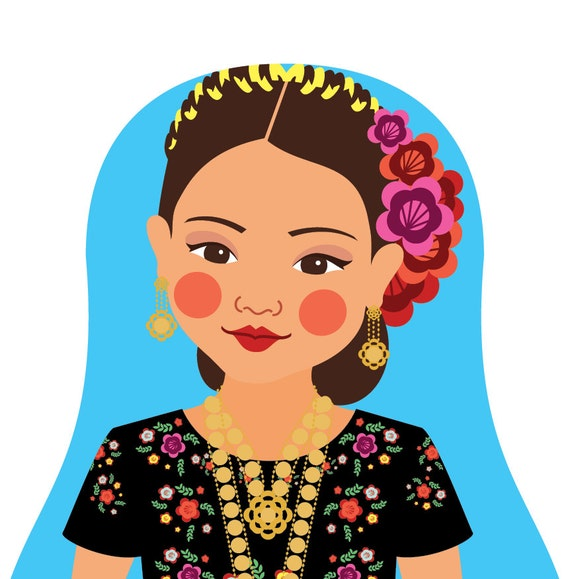 Mexican Tehuana Doll Art Print with traditional dress, matryoshka
