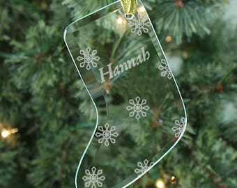 Engraved Snowflake Glass Stocking Ornament - Personalized with Name