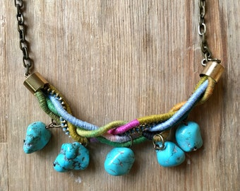 Colorful statement necklace: turquoise stone  and rope, braided. Antique brass, adjustable chain, rainbow summer, gift for her, fresh, fun