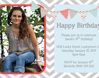 Neon sweet 16 birthday invitation template 4x6 grey chevron birthday invitation 1 template 4x6 stopboris Image collections