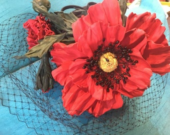 Red poppy fascinator leather poppy fascinator with cap