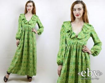 Indian Dress India Dress Hippie Dress 70s Dress Hippy Dress Boho Dress Festival Dress Maxi Dress Vintage 70s Silk Indian Maxi Dress S M