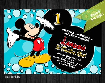 Mickey Mouse Birthday Invitation - invite for Mickey Birthday, Personalized Digital file - Mickey Mouse Clubhouse birthday