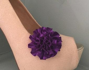 Beautiful Deeree Deep Purple Rosette Style Shoe Clips
