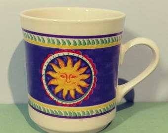 Vintage 8 oz Gibson Ceramic Single Cup 1990s Smiling Sunburst Pattern Coffee Tea Cocoa Tableware Kitchenware Breakfast Lunch Stoneware Gift