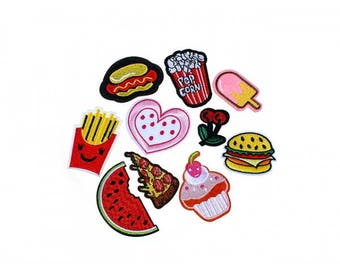 Pack of 10 badges heat-sealed patches American Food
