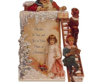 Vintage Standing Christmas Card Made In USA 1990s Santa Claus In Chimney  CD146