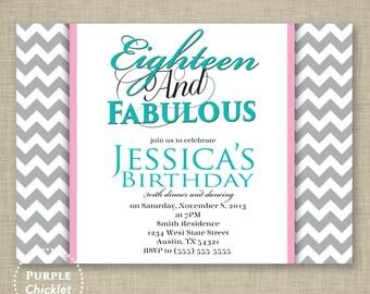 18th Birthday Invitation Teal Blue Pink Gray Chevron Invitation Adult Party Invite printable 5x7 JPG File Invite (66-2)
