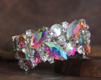 AB rhinestone bracelet, aurora borealis crystal bracelet, iridescent crystal bracelet, AB and clear prom bracelet, AB pageant bracelet