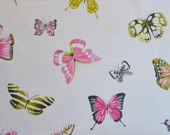 fabric 280cmL, canvas, butterflies, Olivia Bombon, Thévenon