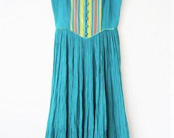 Green vintage Monsoon Indian gauze dress Gypsy Festival dress boho hippy cheesecloth dress s  xs Uk  8 6 US 4 2