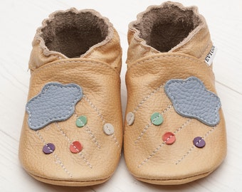 Baby shoes, Leather baby shoes Soft sole kids shoes, Boys', Baby moccasins leather, Girls', Infant baby shoes, Baby booties, Beige, Cloud