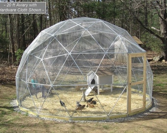 SALE! 16 ft Geodesic Dome Outdoor Aviary, Flight Cage, Animal Pen with Avian Netting