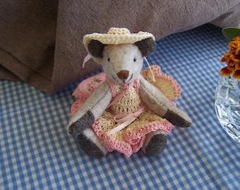 "Bear bespoke handmade wool felt.  My name is ""Serena"""