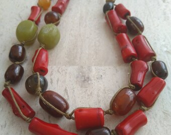 Red Coral, Jade and carnelian agate-Short necklace