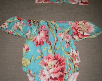 Baby Sunsuit, Baby Romper, Off the Shoulde, Bodysuit, Baby bodysuit, Baby Playsuit