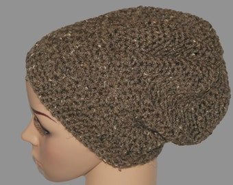 Mens Slouch Beanie, Winter Hat, Basic Hat, Brown Hat, Baggy Hat, Slouch Hat, Unisex Hat, Basic Beanie, Dread Hat, Mens Winter Hat,