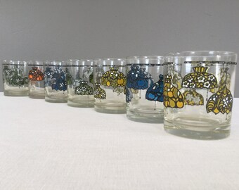 Mid-Century Low Ball Glasses - Set of Seven Bar Cart Glassware - Stained Glass Hanging Lights - mcm Barware - Mad Men Glasses