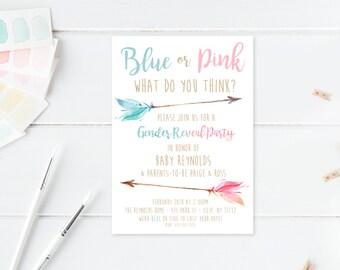 Gender Reveal Invitation, Gender Reveal Party, Boho, Watercolor, Bohemian, Feathers, Gender Reveal Invites, Boho Gender Reveal Invite [580]