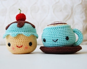 Amigurumi Crochet Pattern - Mr. Coffee and Miss Cupcake - Softie - Plush