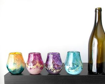 Stemless Wine Glass Set of 4, Handblown Glass, Teal blues, Golds, purples and Pinks, Wedding Gift, Bridesmaid Gift, Housewarming, Art Glass