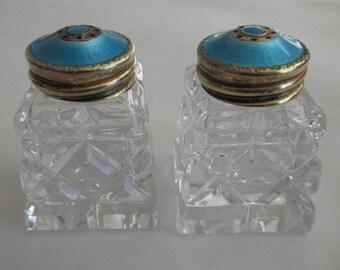 Hroar Prydz Norway Sterling Blue Guilloche Enamel Cut Crystal Glass Salt & Pepper Shakers with Original Box