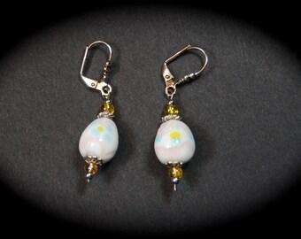 White Floral Easter Egg Earrings, Easter Egg Earrings, Easter Earrings, Handmade Easter Earrings, Handmade Easter Earrings, Lampwork Beads