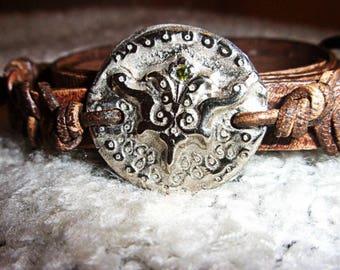 HDrustica Mandala Fleur de Lis Bracelet, Artisan White Bronze, Made In France