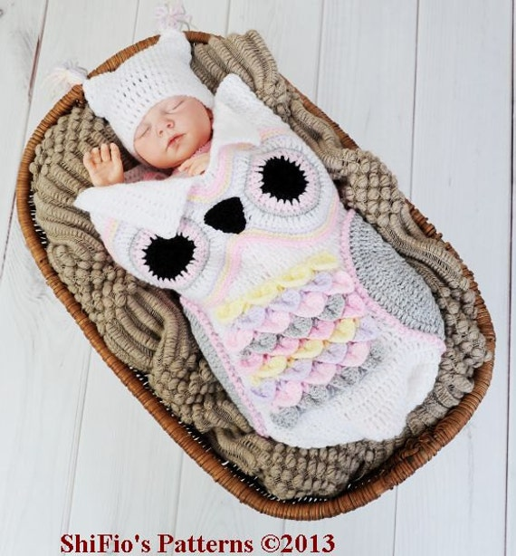 CROCHET PATTERN For Owl Baby Cocoon Papoose & Hat in 3 Sizes