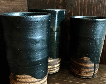 Handmade High Fired Marbled Clay Ceramic Tumblers, Black Tall Drinkware, Modern Kitchenware, Christmas Gift, Rustic Pottery