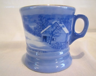 Currier and Ives The Old Homestead in Winter Cup Mug or Shaving Mug